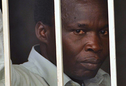 Kwoyelo, a former director of field operations in the rebel group Lord's Resistance Army, is seen at a detention centre after the constitutional court ordered that he should be released in Uganda's capital Kampal