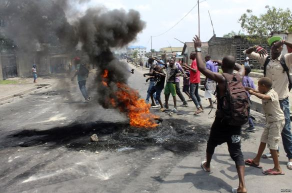 Anti-Kabila protesters in Kinshasa, photo: VOA News